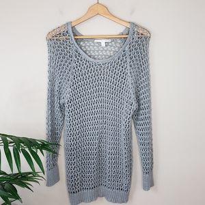 LC Lauren Conrad | Gray Open Knit Sweater
